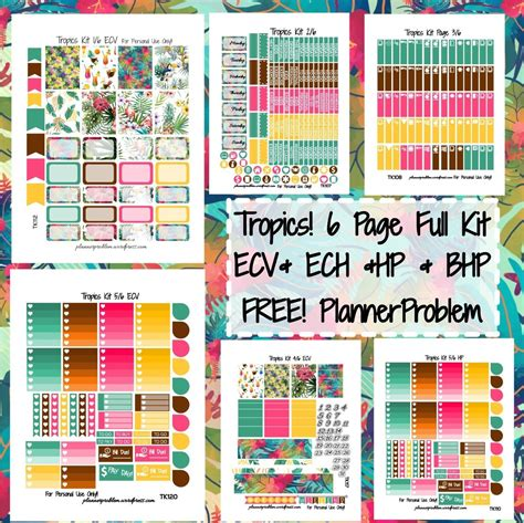 printable planner kits tropics kit free printable planner stickers