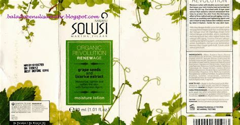 Harga Sariayu Solusi Organic Revolution Renewage talks sariayu solusi organic revolution renewage moisture lotion grape seeds and