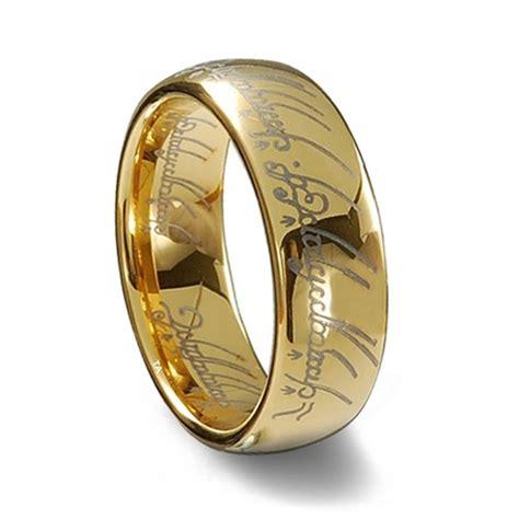 gold tungsten carbide laser engraved elvish lotr ring