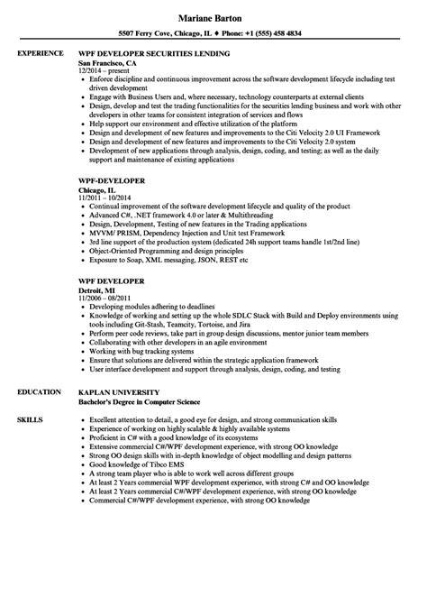 wpf developer resume sle wpf developer resume sles velvet