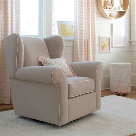 wing back glider with linen and pink carousel designs