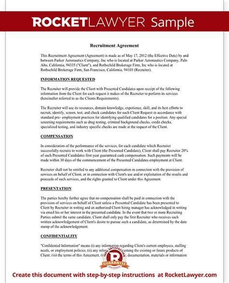 Recruitment Contract Template Recruiter Agreement Recruitment Contract Agreement Template With Sle