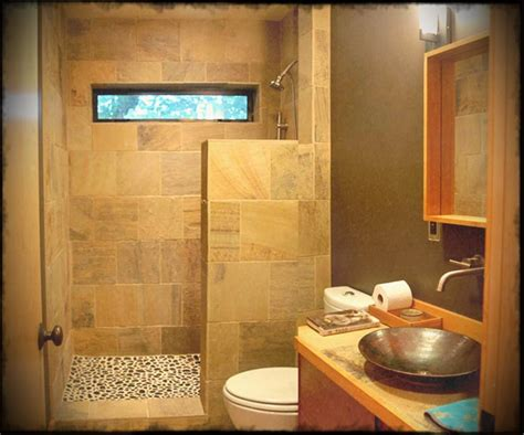 Simple Bathroom Tile Design Ideas Small Simple Bathroom Design Ideas With Vanity Cabinets And Wooden Shelves Also Brown Tiles And