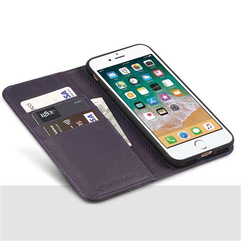 shieldon iphone 8 plus wallet purple color genuine leather cover magnet closure