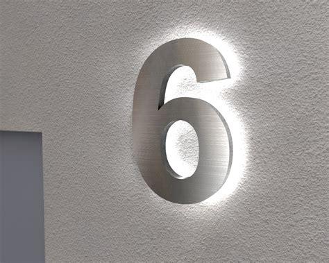 hausnummer mit beleuchtung edelstahl hausnummer beleuchtete hausnummer 6 ambilight