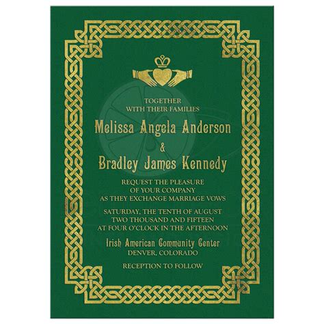 celtic wedding invitation green gold claddagh knot