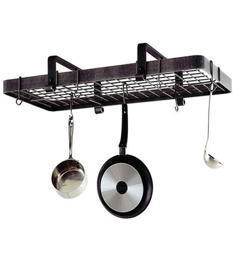 low ceiling rectangle pot rack in hanging pot racks