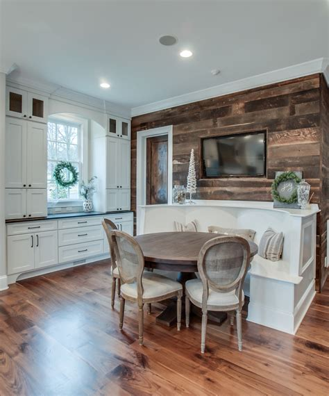 splashy banquette bench in kitchen traditional with barn