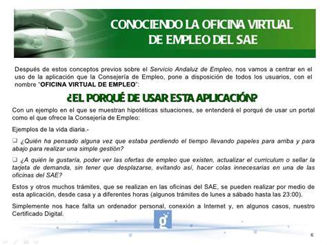 oficina virtual de empleo andaluz oficina virtual de empleo sae