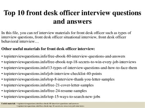 Duties Of Front Desk Officer Top 10 Front Desk Officer Questions And Answers