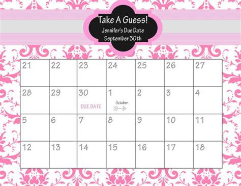 6 best images of baby due date chart printable baby due