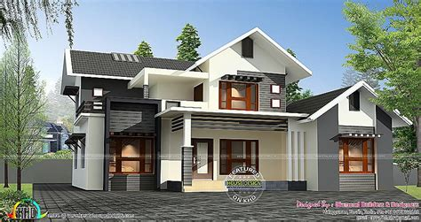 4 bhk sloping roof home design 1850 sq ft sloped roof house plans home