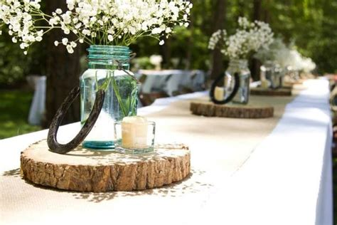 shoes blue jars and centerpieces on