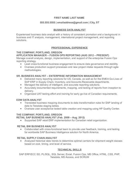 business analyst resume sles canada business data analyst resume