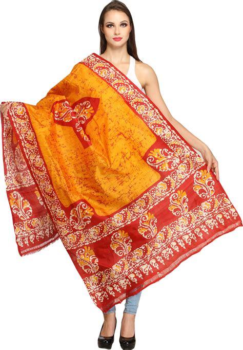 Pashmina Branded Motif Batik marigold and batik dyed shawl with floral print