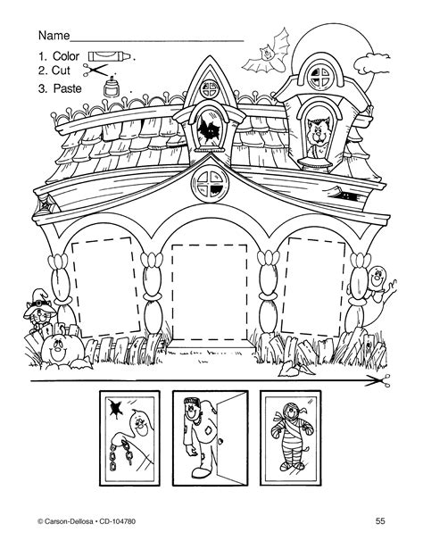 house printable for preschool color cut paste haunted house click through for more