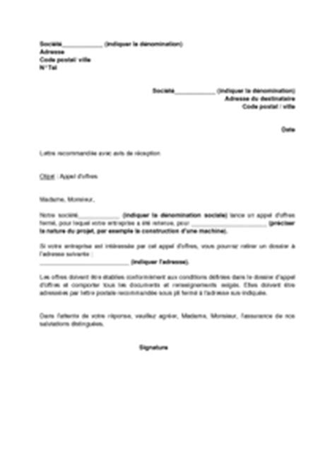 Modeles De Lettre D Appel D Offre Exemple Gratuit De Lettre Appel Offres Ferm 233