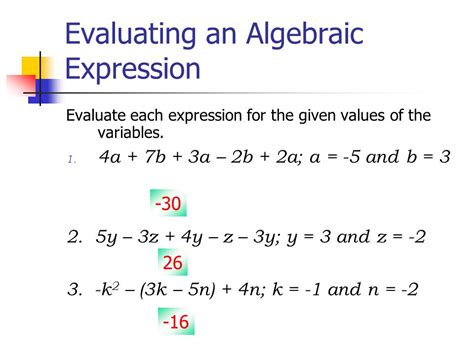 Evaluate Each Expression Worksheet by Algebraic Expressions Ppt