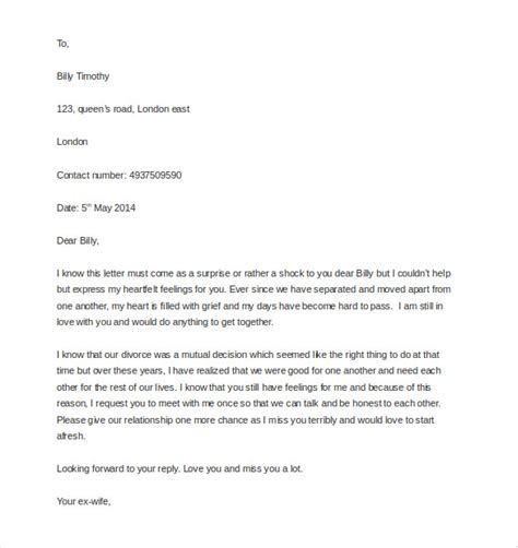 Divorce Letter To A Boyfriend 12 Letter Templates To My Husband Free Sle Exle Format Free