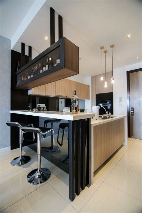 Stylish Kitchen Ideas Modern Kitchen Design With Integrated Bar Counter For A Small Condo Home What S Cooking