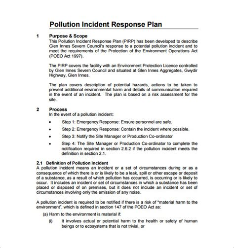 incident response template incident response plan template 8 free word pdf
