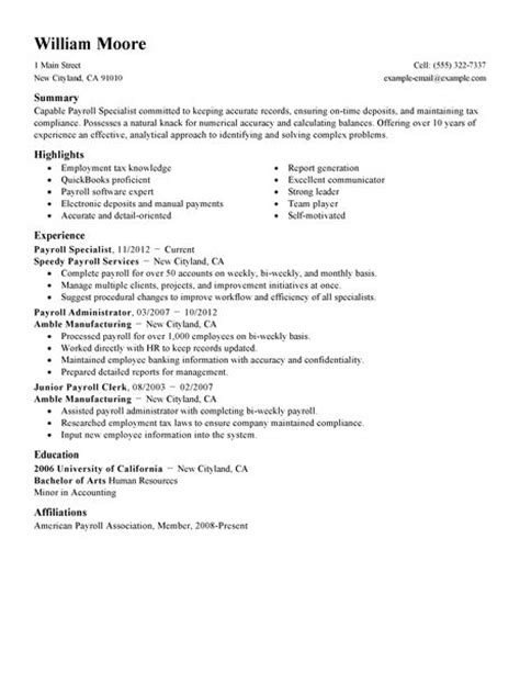 Resume Sles For Payroll Accountant Best Payroll Specialist Resume Exle Livecareer