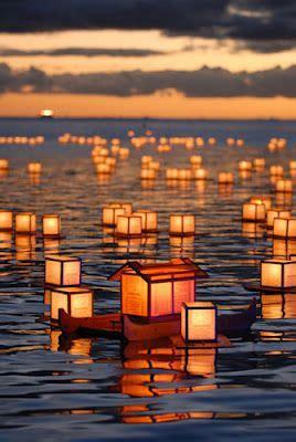 paper lanterns floating paper lanterns  landscape