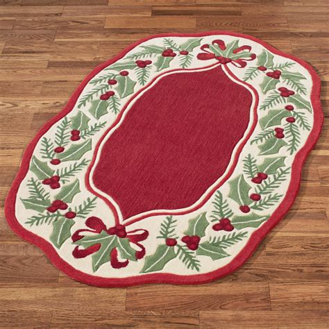 holly wreath red holiday area rug