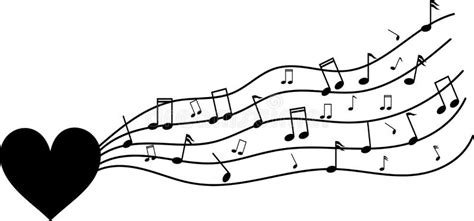 imagenes en blanco y negro de notas musicales coraz 243 n negro en blanco con las notas musicales