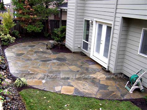 backyard stone patio cost lewis landscape services beaverton oregon flagstone slate