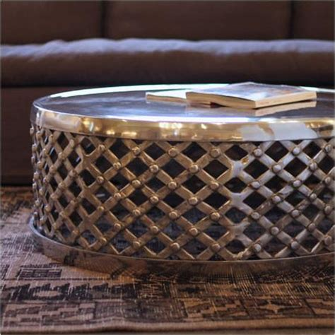 Metal Drum Coffee Table Round Polished Silver Finish Metal Drum Coffee Table
