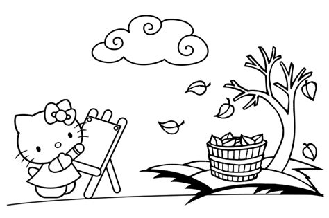 hello kitty fall coloring page mad about kitty september 2012