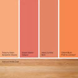 from left to right peachy keen from benjamin moore sweet melon from valspar mesa sunrise from
