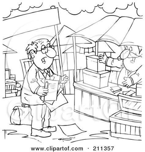 Outline Picture Of Market by Royalty Free Rf Clipart Illustration Of A Coloring Page Outline Of A Salesman Approaching A