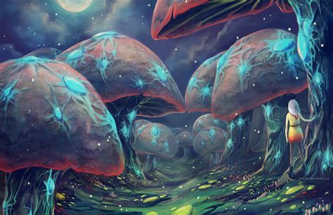 Rainforest Shoo forest of glowshrooms by falsedelusion on deviantart