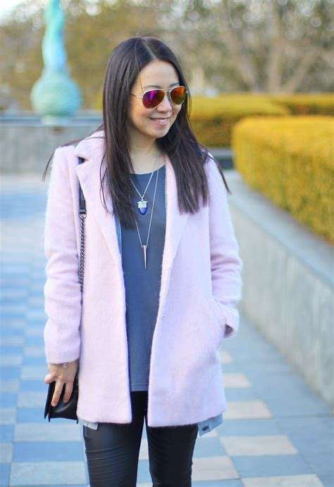 How Much Money Is On My Forever21 Gift Card - outfit highlight a pink coat and a quilted bag my rose colored shades