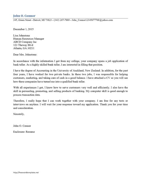 Cover Letter For Bank Teller by Bank Teller Cover Letter