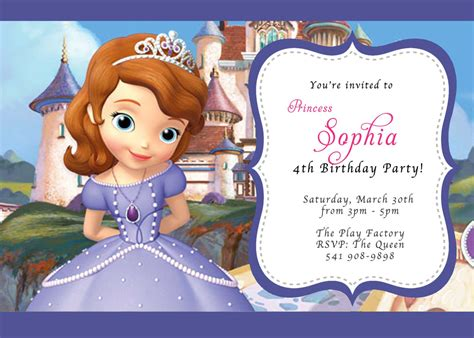 custom photo invitations disney sofia the birthday