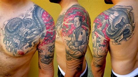 tatuaż ramię japoński samuraj smok przez delaine neo gilma