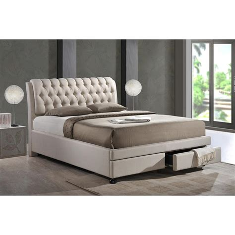 baxton studio king bed baxton studio ainge transitional beige fabric upholstered