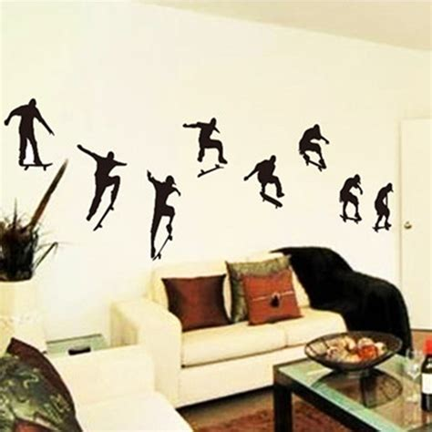 Wall Stickers For Teenagers teenagers playing skate wall art stickers diy 3d vinyl