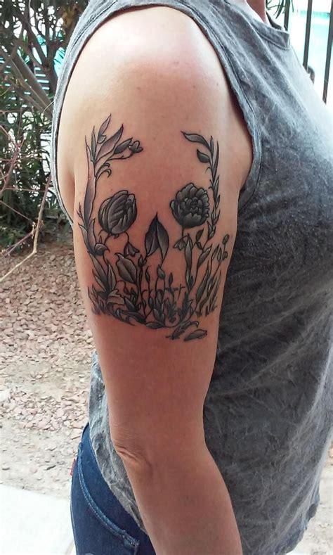 flower garden tattoos optical illusion skull flower garden by christian