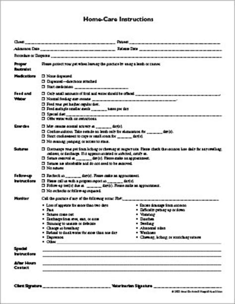 home care instructions form aaha
