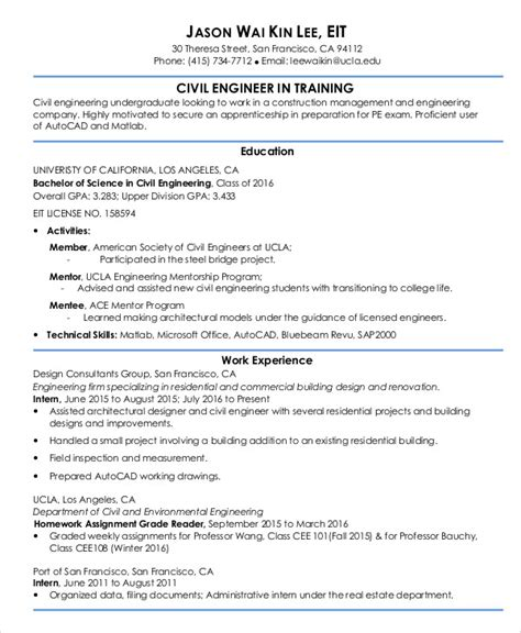 Resume Exles Entry Level Engineering 54 Engineering Resume Templates Free Premium Templates