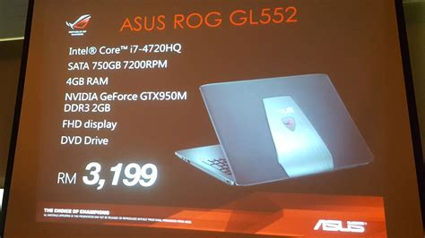 Asus Laptop A550c Price In Malaysia asus malaysia introduces the rog g501 g751 and gl552 gaming notebooks and g20 compact gaming pc