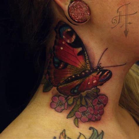 neck tattoo realistic realistic butterfly neck tattoo by antony tattoo