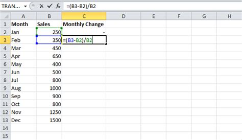 format excel percentage percent change formula in ms excel