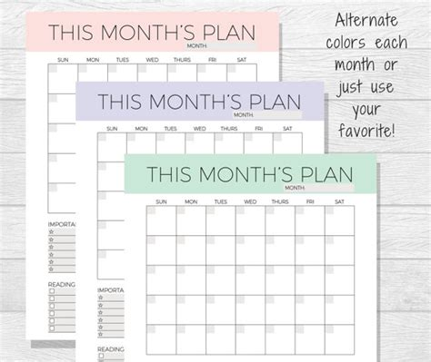 printable calendar undated undated monthly planner printable monthly calendar