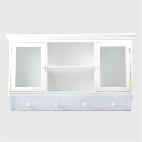 wall cabinet coat rack mounted showcase white shelf