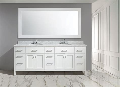 "84"" London Double Sink Vanity Set in White Finish :: Bathroom Vanities :: Bath Kitchen and Beyond"